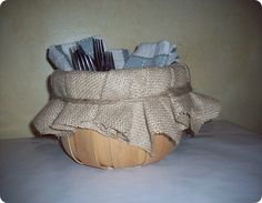 Burlap Lined Basket. Great for summer cookouts!