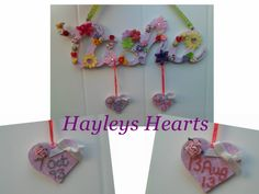 Available to order at www.facebook.com/hayleyshearts Made to order. £3 per letter £2 per small hanging heart.
