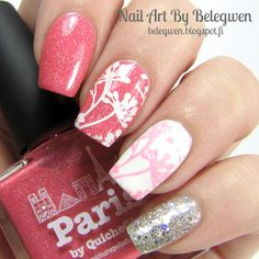 Nail Art By Belegwen: Picture Polish Paris, Gina Tricot White and Shimmer Polish Alice