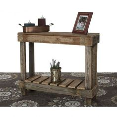 "This barnwood entry table is made from 100% reclaimed wood. The natural barnwood color may have browns, grays, reds, oranges and any other light color that comes with old wood. Measurements: 30"" x 36"""