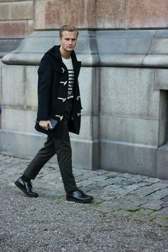 Brixtol Duffel, H&M Sweater, Prada Wallet, H&M Shoes