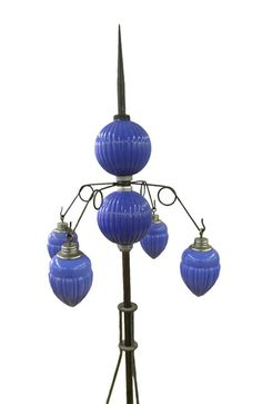 Lighting Rod Blue Milk Glass Barnett Pleated Round balls and pendents