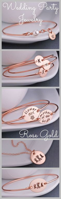 Personalized Rose Gold Jewelry for the Wedding Party. Bridesmaids, flower girl and mother of the bride and groom!