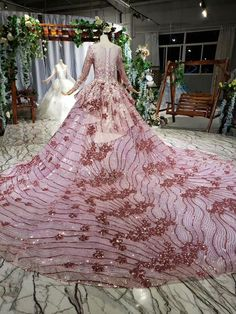 Ostty Pink Long Sleeve Wedding Gowns Flower 16 Party Dress OS0337 Quinceanera Dresses, Prom Dresses, Formal Dresses, Wedding Dresses, Wedding Gowns With Sleeves, Long Sleeve Wedding, Tube Dress, Dress Skirt, Special Occasion Dresses