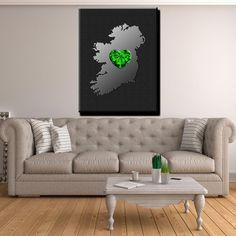 ☘️☘️ Ireland My Heart Is In Ireland - Canvas Print Wall Art ☘️☘️ Wall Art Prints, Canvas Prints, 1 Piece, My Heart, Ireland, Display, Frame, Irish, Note