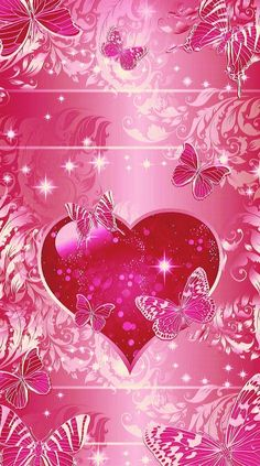 By Artist Unknown. Heart Iphone Wallpaper, Butterfly Wallpaper, Glitter Wallpaper, Wallpaper Iphone Disney, Butterfly Art, Love Wallpaper, Cellphone Wallpaper, Wallpaper Backgrounds, Valentine Wallpaper