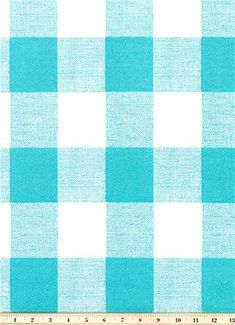 Turquoise Check Indoor Outdoor Fabric by the Yard Easy Care Contemporary Outdoor Fabric Upholstery Drapery Curtain Home Decor Fabric