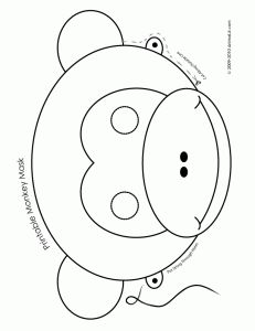 Printable Monkey Animal Mask - Coloring Page