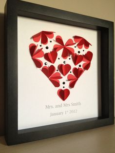 Hearts, Paper Art - perfect for wedding date or anniversary- customize with wedding colors 3d Paper Art, Diy Paper, Paper Craft, Paper Flowers Diy, Paper Roses, Diy Projects To Try, Craft Projects, Project Ideas, Frame Crafts