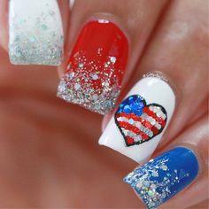 82 Glitter Nail Art Designs by Gabby Morris - Cool Fashion Accessories Flag Nails, Patriotic Nails, Hair And Nails, My Nails, Thin Nails, Nail Length, Nails First, Manicure Y Pedicure, Glitter Nail Art