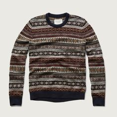 Abercrombie & Fitch Fairisle Sweater ($31) ❤ liked on Polyvore featuring men's fashion, men's clothing, men's sweaters, fairisle and mens fair isle sweater