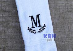 Laurel Leaf Monogram Hand Towel by KeepsakesByHeather on Etsy