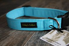 Dog Collar The Gingham in Turquoise by ColeysCollars on Etsy, $16.95