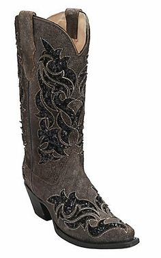 Corral Womens Roughed Brown with Black Sequin Inlay Snip Toe Western Boots