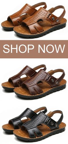 US 37.85 Men Opend Toe Stitching Comfortable Leather Sandals shoes  summer   style Discount f5b02390398e
