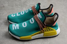 7bb6ef73e New adidas Pharrell NMD Boost Race Hu Trail Sun Glow Core Black-EQT Yellow