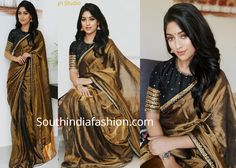Anu Emmanuel was recently seen in a golden tissue saree paired with contrast black high neck embellished blouse by Priya Design Studio. She finished off her look with a pair of gold jhumkas and wavy hair! Black Saree Blouse, Saree Blouse Neck Designs, Blouse Patterns, Golden Blouse Designs, Golden Saree, Anu Emmanuel, Designer Party Wear Dresses, Saree Trends, Latest Designer Sarees