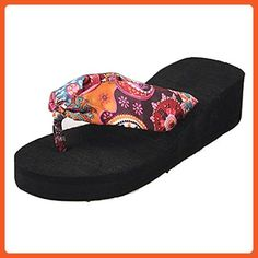 TOOGOO(R)Summer bohemia flower Women flip flops platform wedges women sandals platform flip slippers beach shoes size 5 black - Slippers for women (*Amazon Partner-Link)
