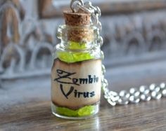 Zombie Virus small Potion Bottle Necklace