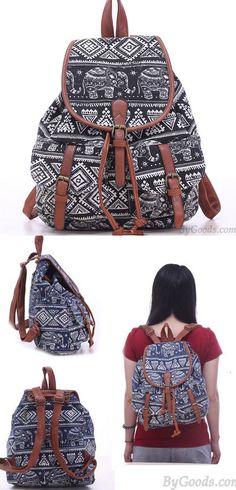 Leisure Elephant School Rucksack For Girl Totem Canvas Bag College Backpack for big sale! #backpack #Bag #elephant #school #college #leisure