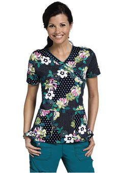 Dickies Trellis Like It Is mock-wrap print scrub top. - Scrubs and Beyond #scrubs #uniforms #nurse
