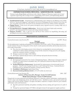 Nice Entry Level Assistant Principal Resume Templates | Senior Educator   Principal  Resume Sample Regard To Elementary School Principal Resume