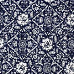 """Blue Rose Lattice Cotton Jersey Blend Knit Fabric - A beautiful modern lattice diamond design with roses in a navy blue on a white cotton jersey rayon blend knit.  Fabric is lighter to mid weight, soft, with a nice stretch.  Rose measures 2"""", diamond 5"""" (see image for scale).  ::  $6.00"""