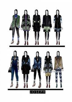 Fashion Portfolio - fashion design drawings for Joseph project; lineup illustrations; fashion sketchbook // Chloe Sanders