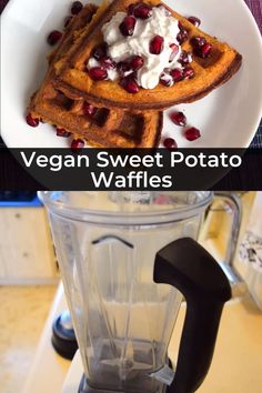 These incredibly easy vegan waffles featuring amazing fall flavors in the form of sweet potato and cinnamon. They also pack a punch of sneaky nutrition from the sweet potatoes and the oats. Sweet Potato Waffles, Sweet Potato Breakfast, Breakfast Casserole, Vegan Sweets, Vegan Snacks, Vegan Food, Vegan Brunch Recipes, Healthy Brunch, Quick Vegan Recipes
