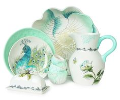 Peacock dinnerware (aka Edie Rose Bloom)