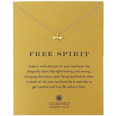 """Dogeared Reminder """"Free Spirit"""" Gold-Plated Sterling Silver Dragonfly... ($62) ❤ liked on Polyvore featuring jewelry, necklaces, holiday jewelry, sterling silver necklace, dogeared necklace, dragonfly jewelry and gold plated pendant necklace"""