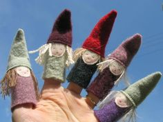 Cute little gnome puppets made from old sweaters and felt. Source unknown.