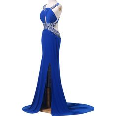 Beading Royal Blue Sequined Floor Length Mermaid Sleeveless O Neckline... ($129) ❤ liked on Polyvore featuring dresses, gowns, white sequin gown, long sequin dress, white evening dresses, prom dresses and long white gown