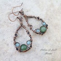 Wire Jewelry Teardrop Wire wrapped earrings by Pillar of Salt Studio - Handmade copper earrings. Bijoux Wire Wrap, Wire Wrapped Earrings, Copper Earrings, Wire Wrapped Pendant, Copper Jewelry, Pendant Jewelry, Fine Jewelry, Jewelry Making, Stud Earrings