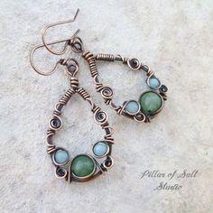 Wire Jewelry Teardrop Wire wrapped earrings by Pillar of Salt Studio - Handmade copper earrings. Bijoux Wire Wrap, Wire Wrapped Earrings, Copper Earrings, Wire Wrapped Pendant, Copper Jewelry, Pendant Jewelry, Fine Jewelry, Jewelry Making, Stud Earrings