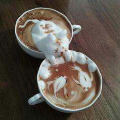 coffee cat art 8 Sculptures Kawaï sur cappuccino