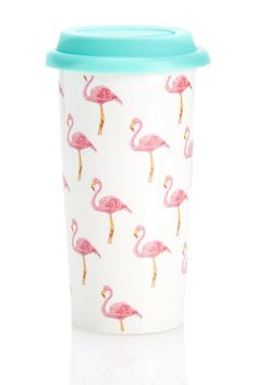 Currently in love with this flamingo coffee tumbler!