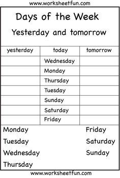 Kindergarten Spelling Worksheets Days the Week Worksheets Eval Kindergarten English Spelling Worksheets, First Grade Worksheets, Kindergarten Worksheets, Kids English, Learn English, English Lessons For Kids, English English, English Worksheets For Kids, Kids Worksheets