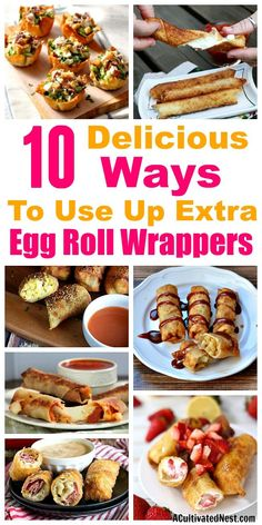 10 Genius Recipes that Use Egg Roll Wrappers- Just because they're called egg roll wrappers doesn't mean you only have to use them for egg rolls! Check out these 10 surprising (and delicious) recipes that use egg roll wrappers! Recipes Using Egg Roll Wrappers, Eggroll Wrapper Recipes, Wonton Recipes, Egg Roll Recipes, Gourmet Recipes, Appetizer Recipes, Dessert Recipes, Cooking Recipes, Healthy Recipes