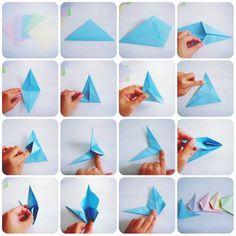 折り紙☆バーンスター - DIYレシピの作り方を探すならCreon(クレオン) 1 / 2 折り紙を5枚用意して画像の通りに折って
