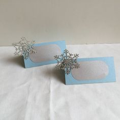 Winter Wonderland Place Cards, Silver Glitter Snowflakes by DecorateYourBigDay