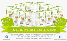 To celebrate the launch of our new line of Vitaleaf Premium Moringa Powder and Premium Moringa tea supplements we're giving away a year's worth of free tea to one lucky winner each month until the end of the year! To enter: Simply like us on Facebook or follow us on Twitter and tell us how you would use moringa to improve your life and health!