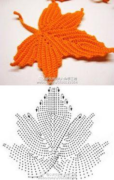 Simply Crochet, animaux, travaux manuels, couture et recyclage, Crochet Leaf Patterns, Crochet Leaves, Crochet Motifs, Crochet Diagram, Freeform Crochet, Crochet Chart, Crochet Designs, Crochet Doilies, Crochet Flowers
