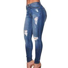 Women's Ripped Skinny Jeans Destroyed Casual Slim Cotton Denim Trousers-Pants-DMC_Fashion_Stylist-XL-DMC_Fashion_Stylist