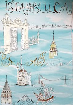 San Francisco illustrator Meltem Sozer drew some of Istanbul's most iconic landmarks such as the Galata Tower the  Sultan Ahmet mosque and the Kiz Kulesi.