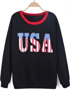 Black Long Sleeve USA Print Contrast Trims Sweatshirt US$30.33