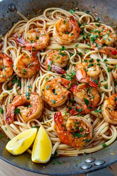 Shrimp and linguine in a lemon, butter, garlic BBQ sauce! (A cross between shrimp scampi and New Orleans BBQ shrimp!) Shrimp and linguine in a lemon, butter, garlic BBQ sauce! (A cross between shrimp scampi and New Orleans BBQ shrimp! Cajun Shrimp Recipes, Linguine Recipes, Seafood Recipes, Pasta Recipes, Cooking Recipes, Cajun Shrimp Scampi Recipe, Cajun Shrimp Pasta, Fish Recipes, Salad Recipes