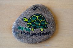 Green Turtle Hand painted unique stone by ColorJuice on Etsy, $12.00
