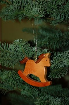 ROCKING HORSE CHRISTMAS Ornament Carving.  A beautiful heartfelt addition to the holiday tree.