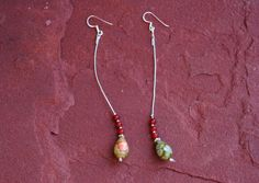 Green Jasper Dangle Earrings Long Earrings van EASTERNSOULS op Etsy